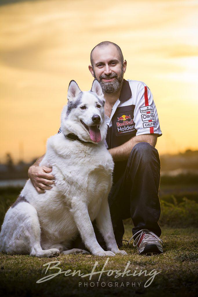 Man and Husky dog