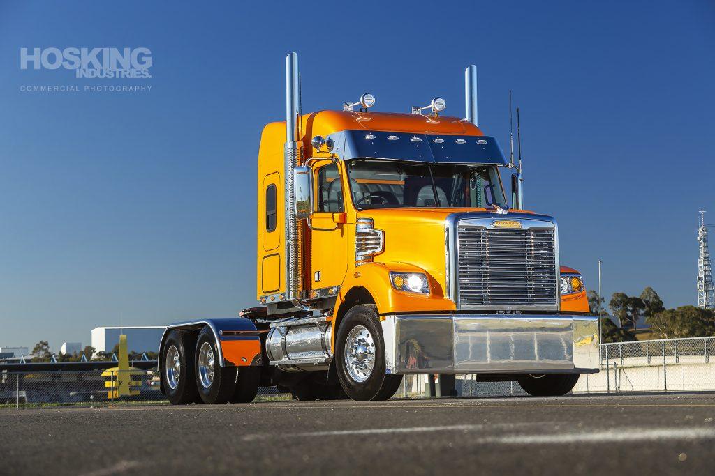 Candy orange Freightliner prime mover
