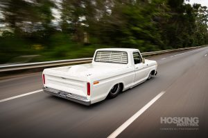 Down Town Kustoms airbagged and supercharged Ford F100